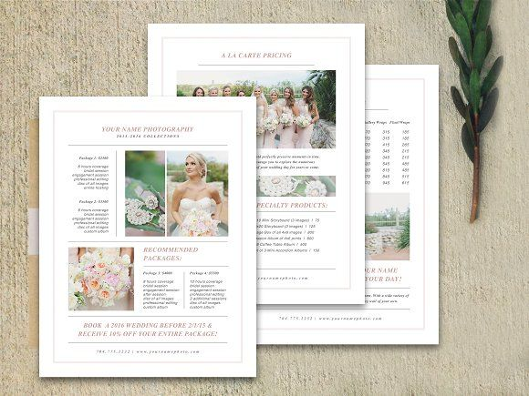 Wedding Pricing Guide Set Brochures and Brochure template - wedding brochure template