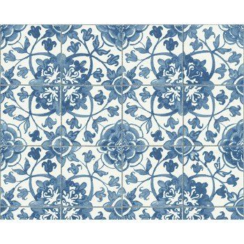 Faro 4 Mediterranean Tile Wallpaper In Blue White By A S Creation 96247 1 Tile Wallpaper Floral Tiles Mediterranean Tile