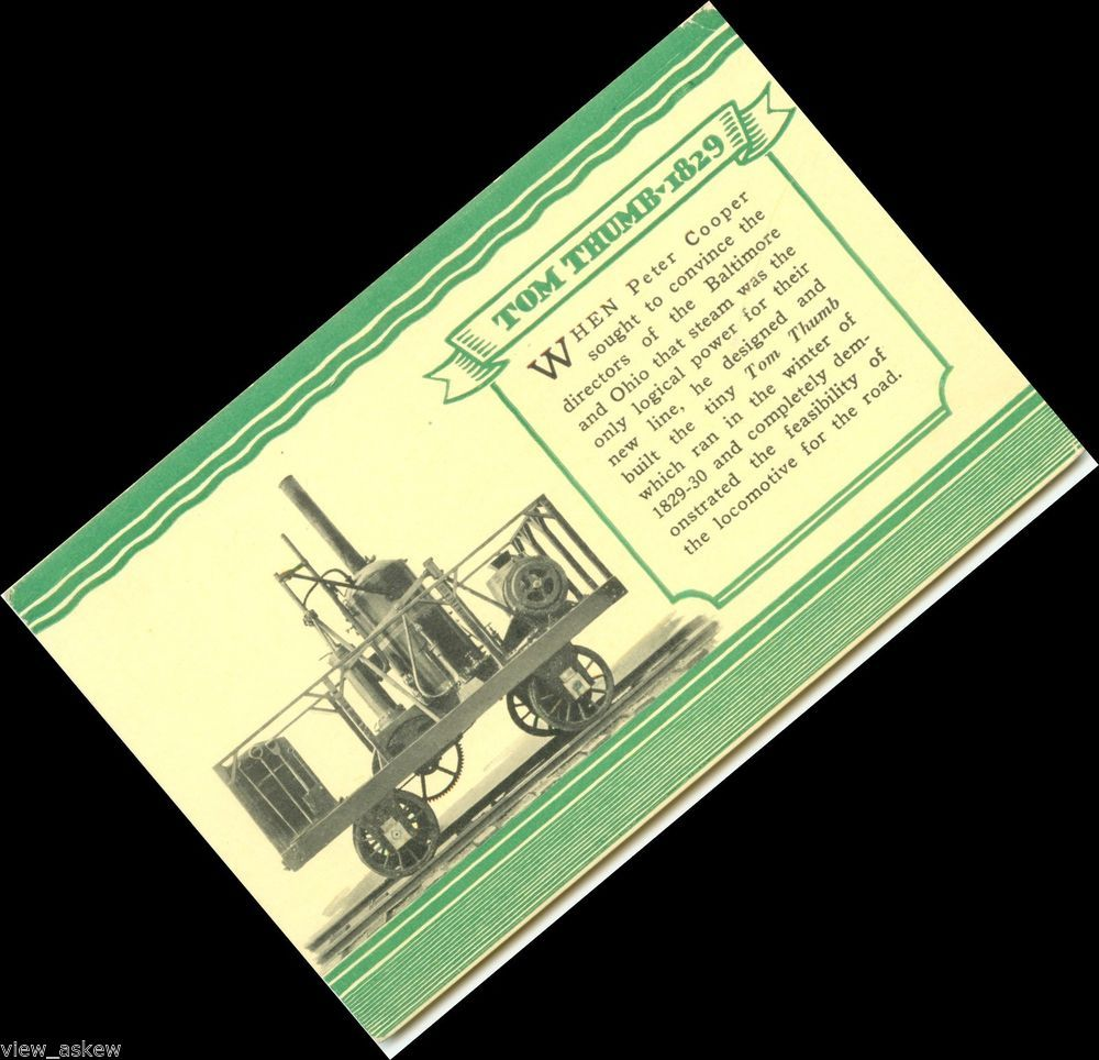 tr153 CENTENARY PAGEANT BALTIMORE OHIO RAILROAD 1827-1927 TOM THUMB TRAIN pc