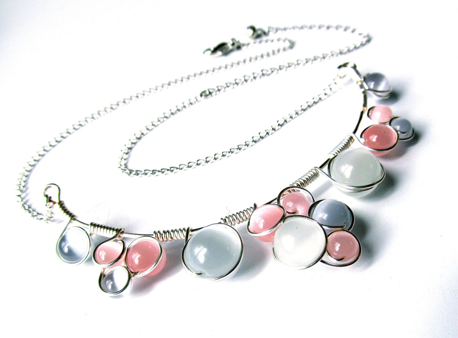 Pink, Grey and Silver - wire wrapped necklace with soft pastel pink ...