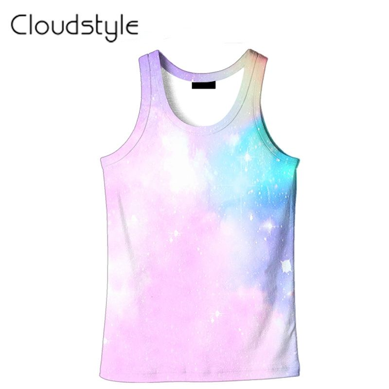 8c3c8acd6ac4 2017 New Arrival Tank Tops Men Pink Sky Bright 3D Printed Vest Homme  Harajuku Sleeveless Mens Tanks Tee Tops Summer Cool