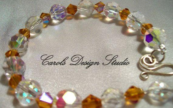 swarovski crystal, crystals, clear crystals, amber crystals, sterling silver, Argentium sterling silver, metalwork, metal, wirework #design #etsymntt