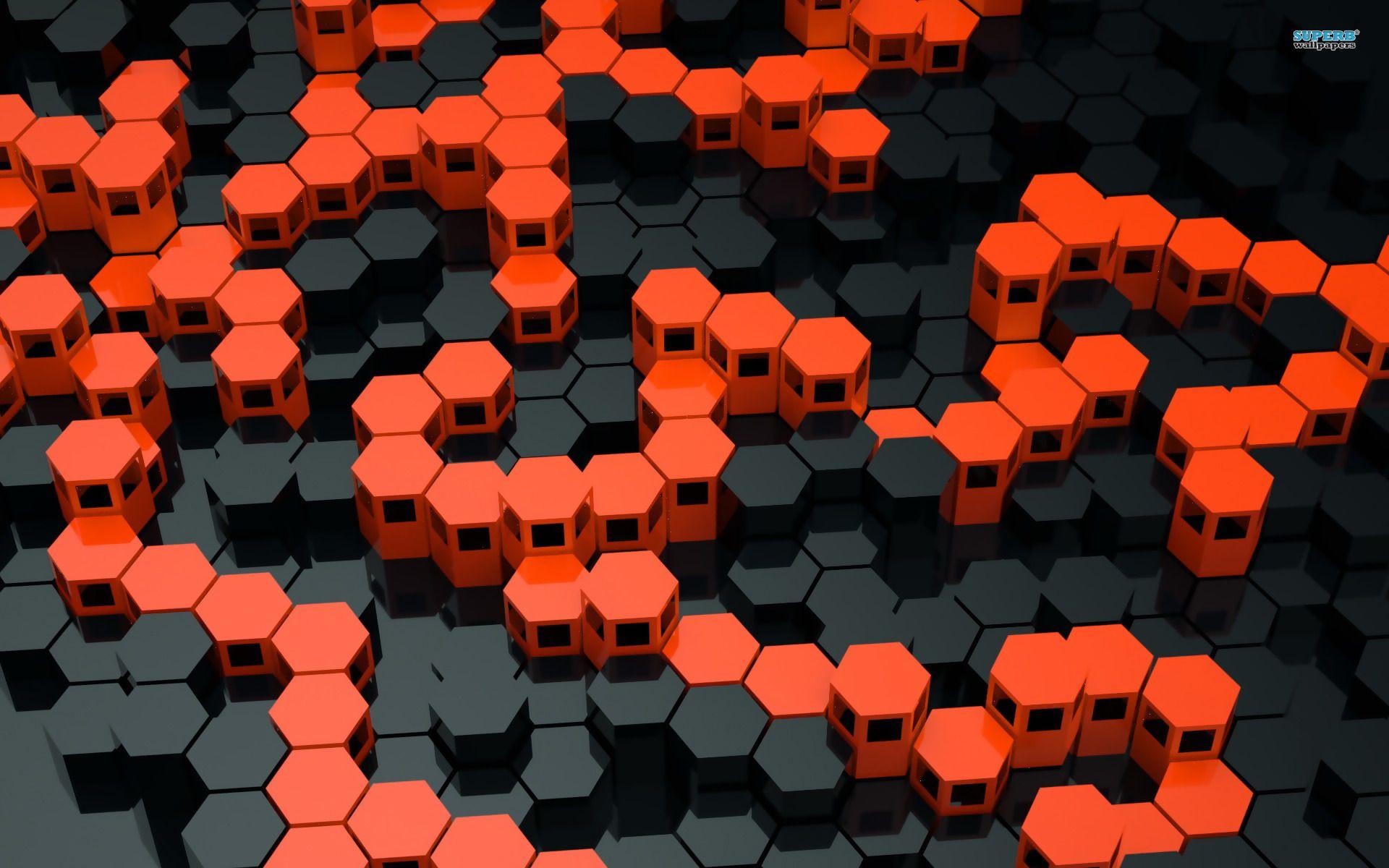 3d Hexagons Wallpaper 1920x1200 1200x1920px Hexagon Wallpapers Orange Tapete Papierwande