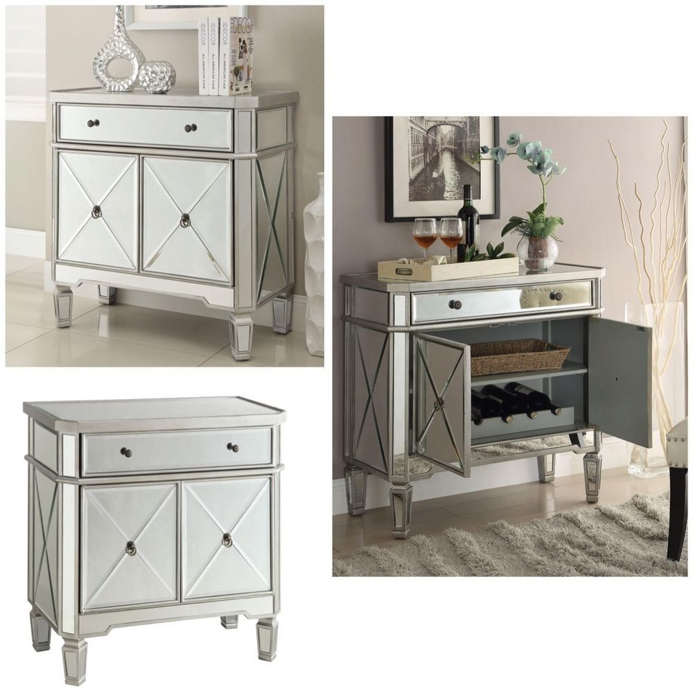 Contemporary Mirror Console Cabinet with Removable Wine Rack