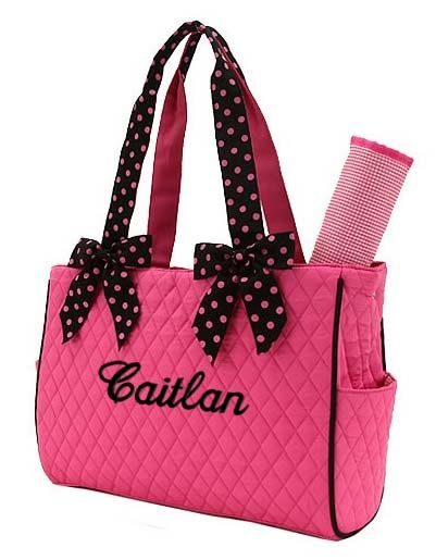 Personalized Diaper Bag In Hot Pink With Black Polka Dots