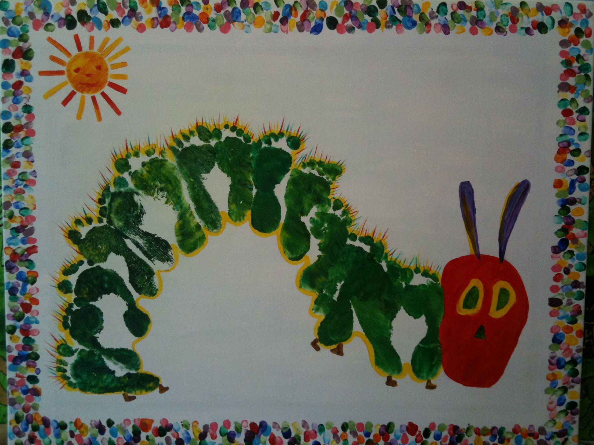 very hungry caterpillar made of footprints and fingerprint ...