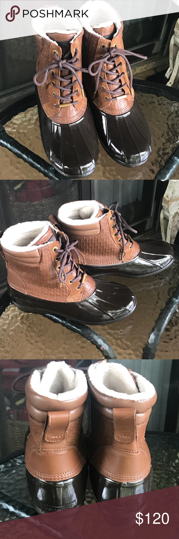 Michael Kors brown Easton duck boots