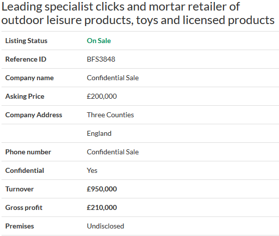 business for sale leading specialist clicks and mortar retailer of outdoor leisure products toys