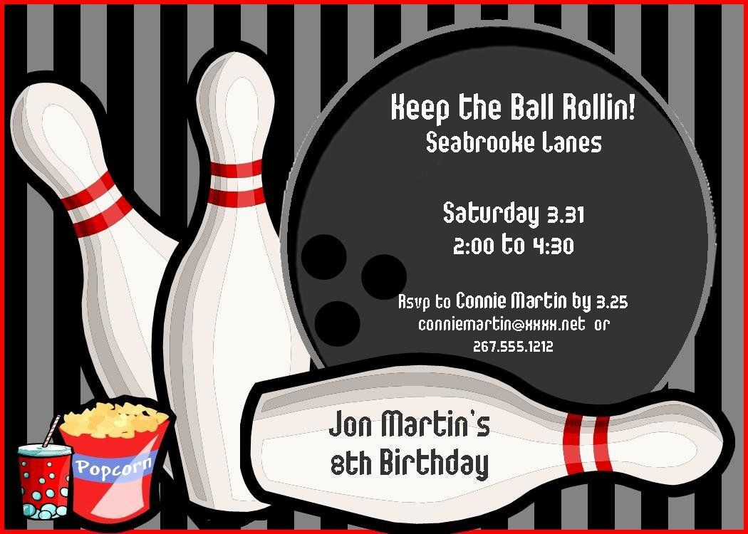 Bowling Party Invitation Template Free New Bowling Birthday Party Invit In 2020 Bowling Party Invitations Party Invite Template Bowling Birthday Party Invitations Free