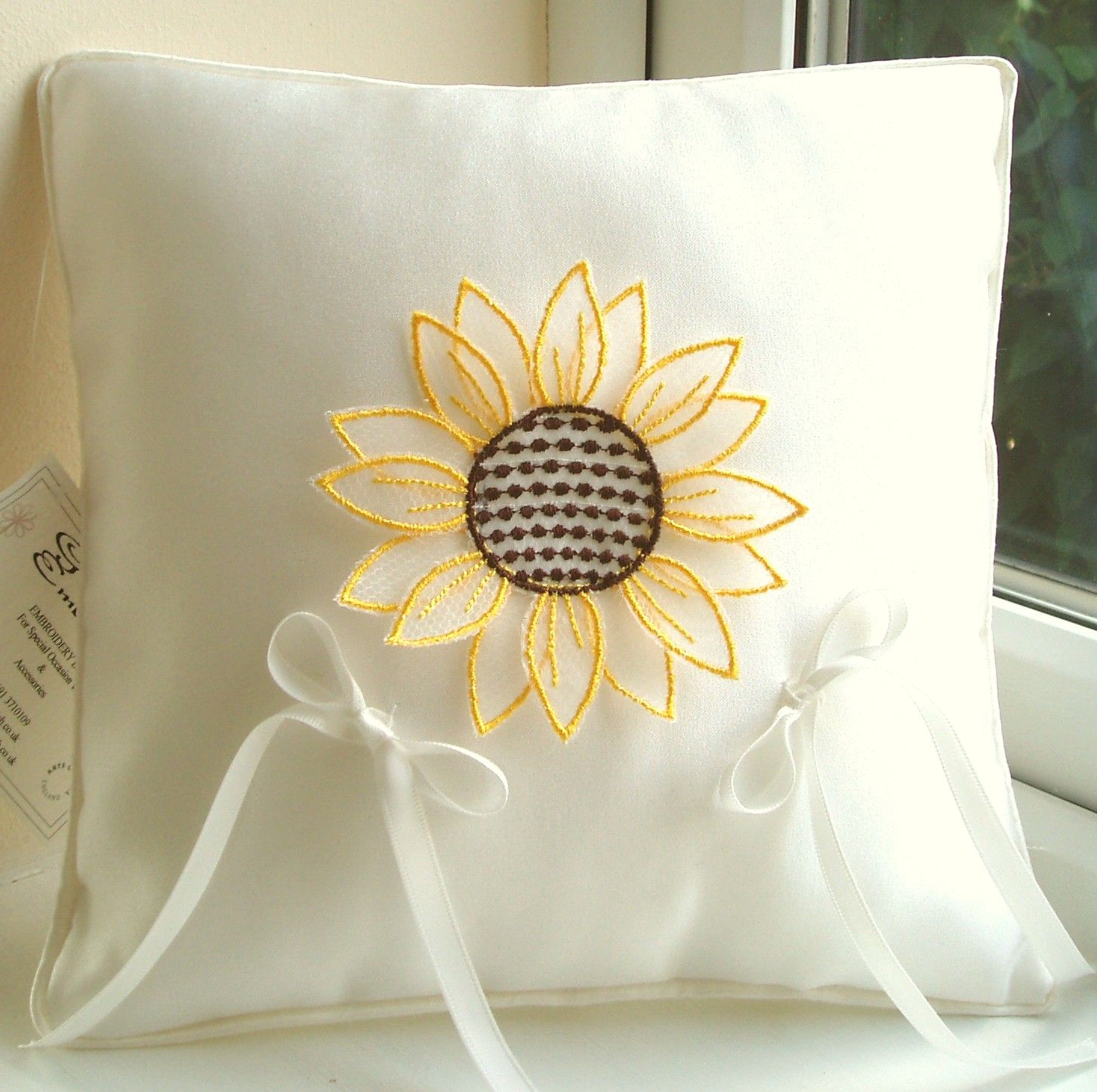 Sunflower wedding ring pillow embroidered organza flower. & Sunflower wedding ring pillow embroidered organza flower ... pillowsntoast.com
