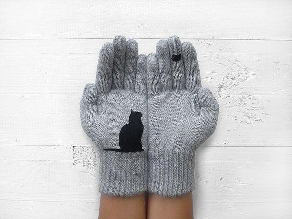 Katze Handschuhe, Haustier Eltern Geschenk, Winterhandschuhe Frauen, graue Wollhandschuhe, sofort zu versenden, Kätzchen Geschenke, Katze-Liebhaber-Handschuhe, Katze Dame, Valentinstag Geschenk