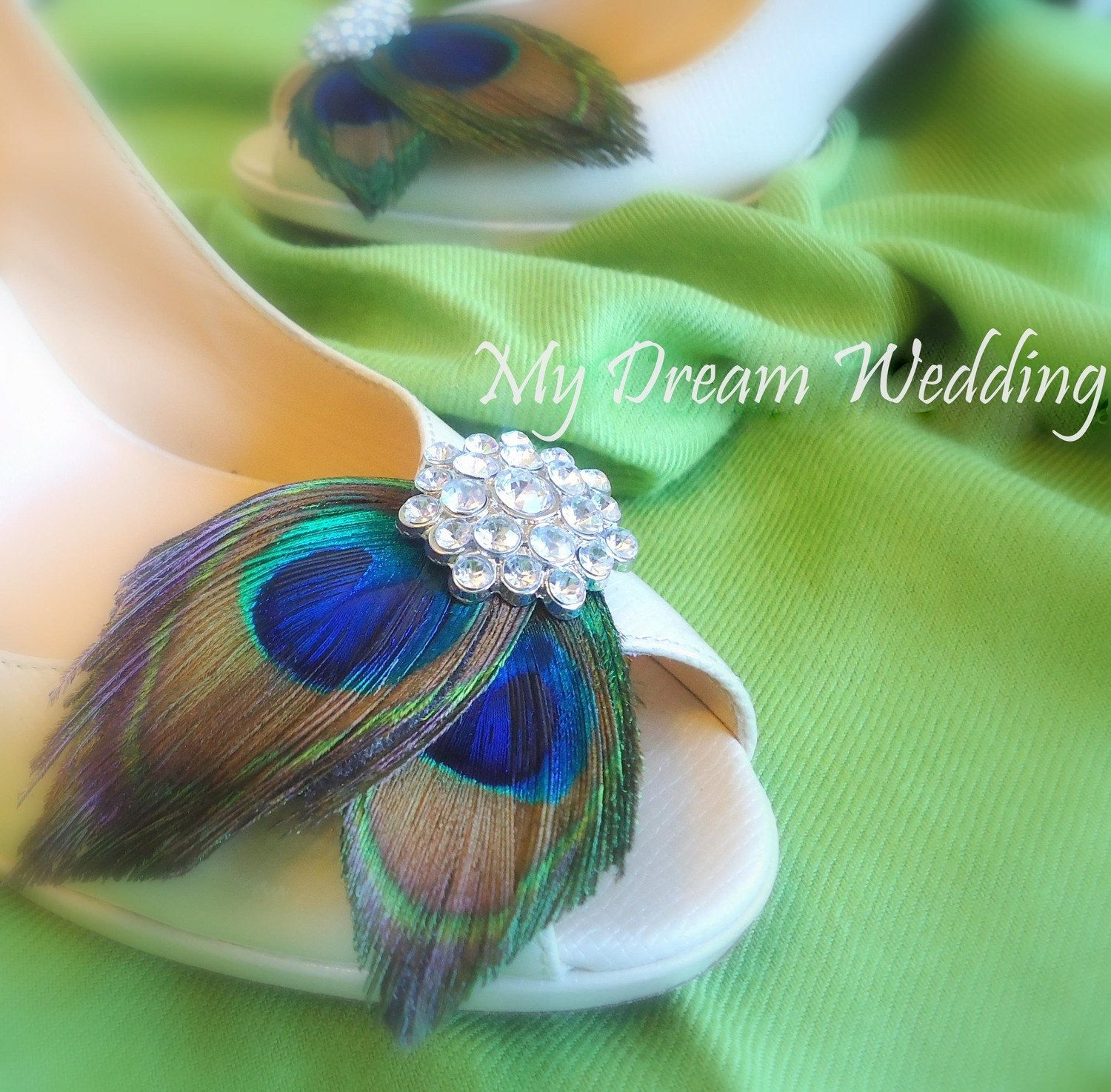 """Cute peacock feather shoe clip...This could be my """"something blue""""!!!"""