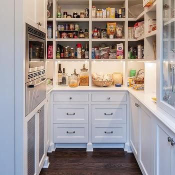 U Shaped Kitchen Pantry With Microwave And Warming Drawer Classy Kitchen Pantry Designs 2018