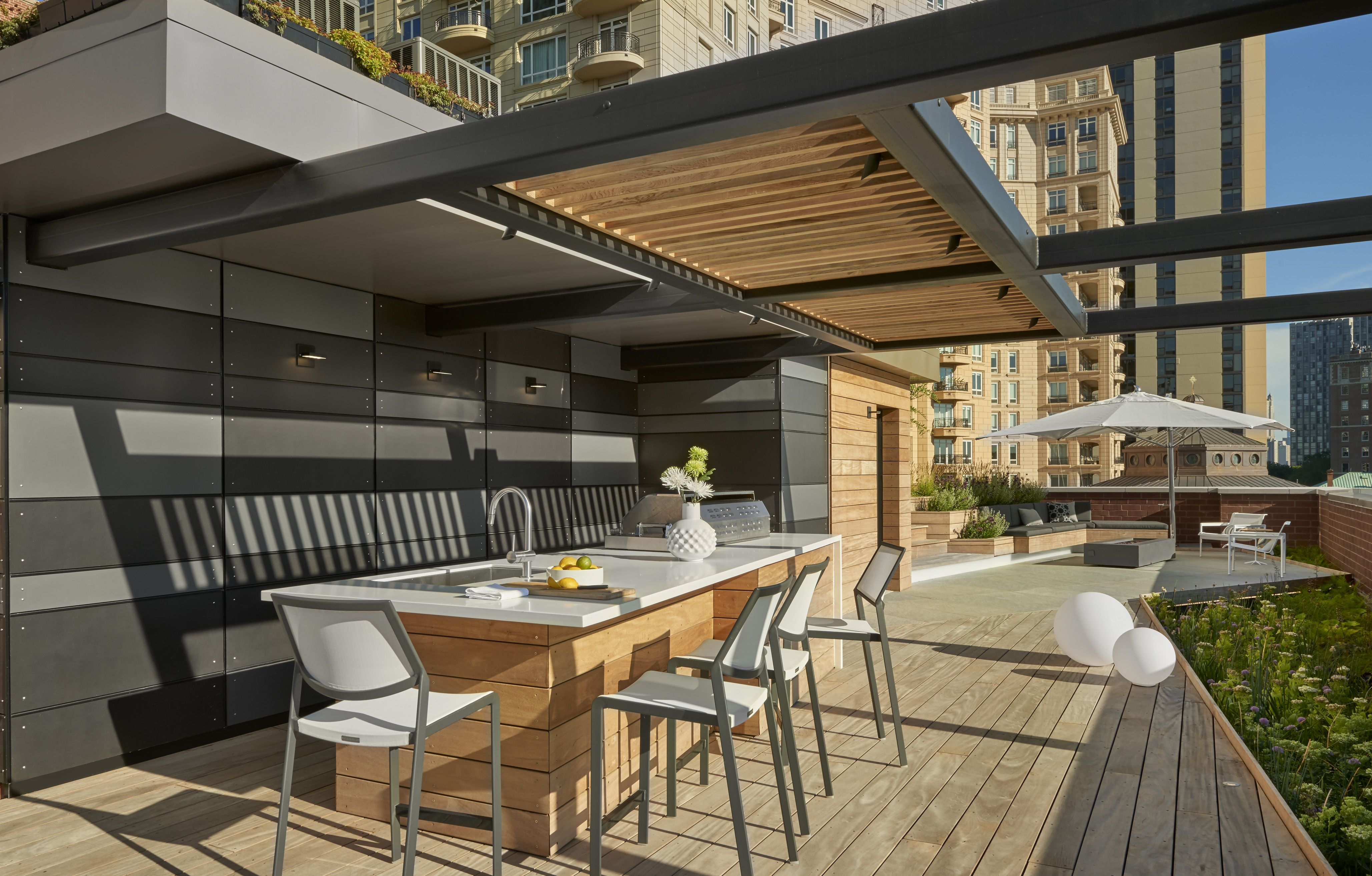 Dspace-rooftop Yard- Outdoor Kitchen With Steel & Wood