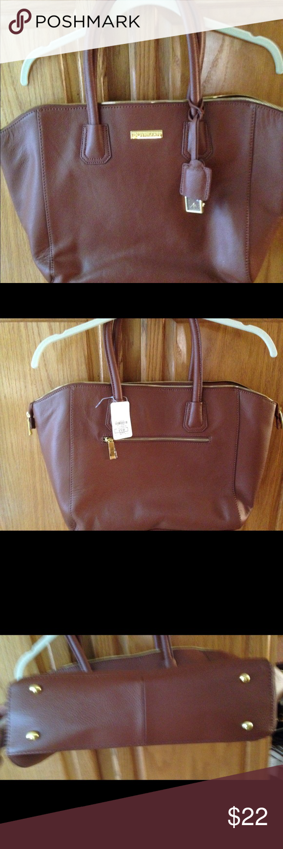 NWT Joy & Iman Leather Tote Bag (HSN) Brown leather tote bag