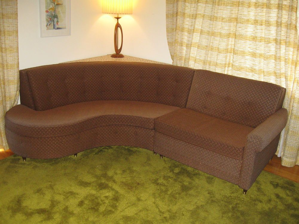 Mid Century Modern Castro Convertible Curved Sleeper Sofa Vintage Original - Mid Century Modern Castro Convertible Curved Sleeper Sofa Vintage