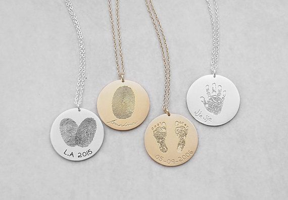 Actual Fingerprint Necklace – Personalized Handprint Necklace – Baby Footprints Necklaces – Meaningful Mother's Day Gifts # PN03.22