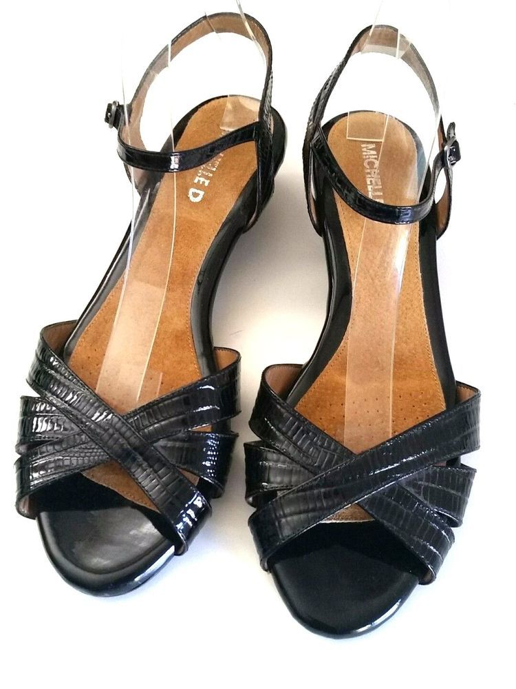 584047f5cda3 Michelle D Patent Leather Sandals Ankle Strap Black 10 M Open Toe Wedge   michelled  AnkleStrap  any