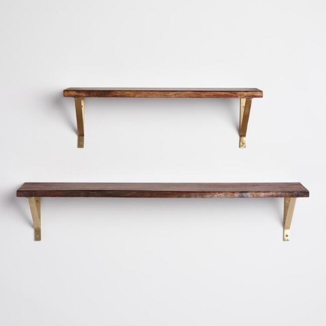Organic Edge Wood Mix & Match Wall Shelf Collection - v3