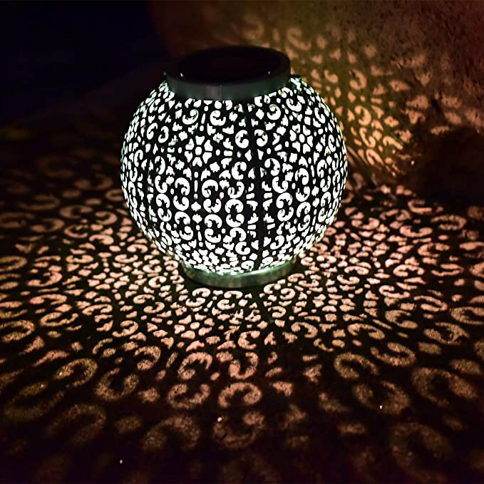 Solar Big Lantern Hanging Garden Outdoor Lights Waterproof LED Metal Table Lamp
