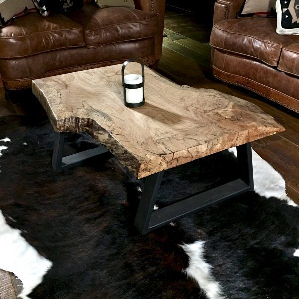 Spalted maple table with natural live edge wood slab coffee table
