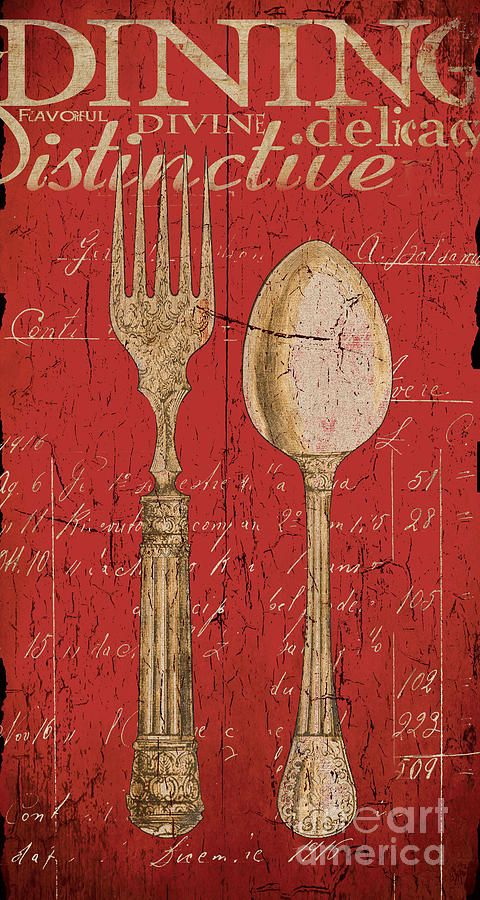Vintage Kitchen Utensils In Red Painting