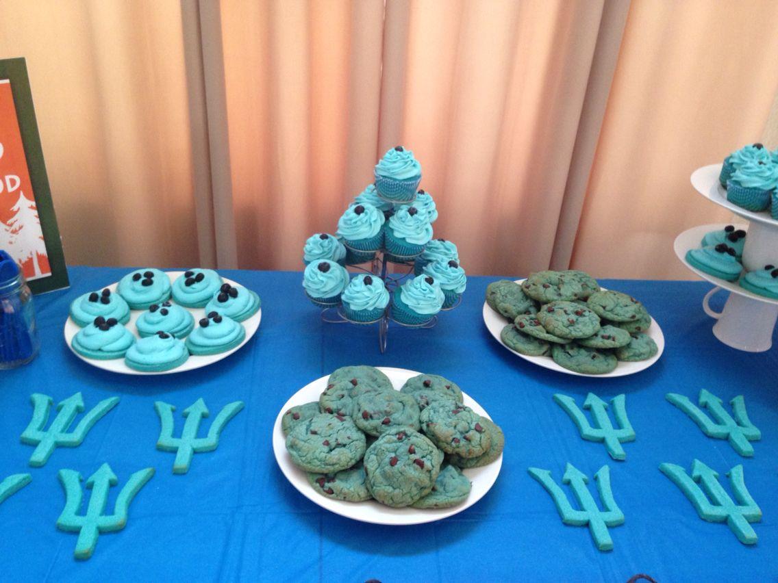 Percy Jackson Blue Theme Cupcakes, Chocolate Chip Cookies ...  Percy Jackson B...