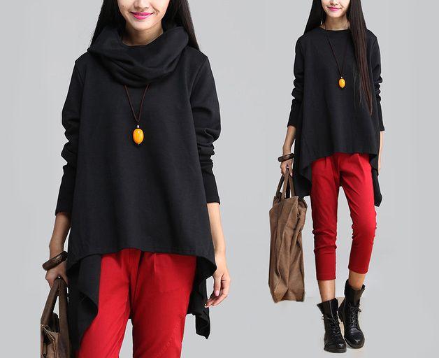 Longsleeves - Frauen Black Herbst T-Shirt-23 - ein Designerstück von MissJuan bei DaWanda