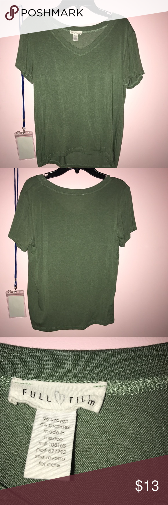 Green v-neck tee soft material, cropped, never worn Tilly's Tops Crop Tops