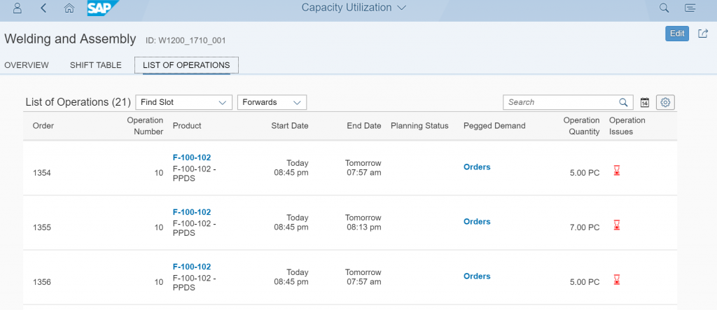 S/4HANA with Embedded PP/DS Functionality Schedule board