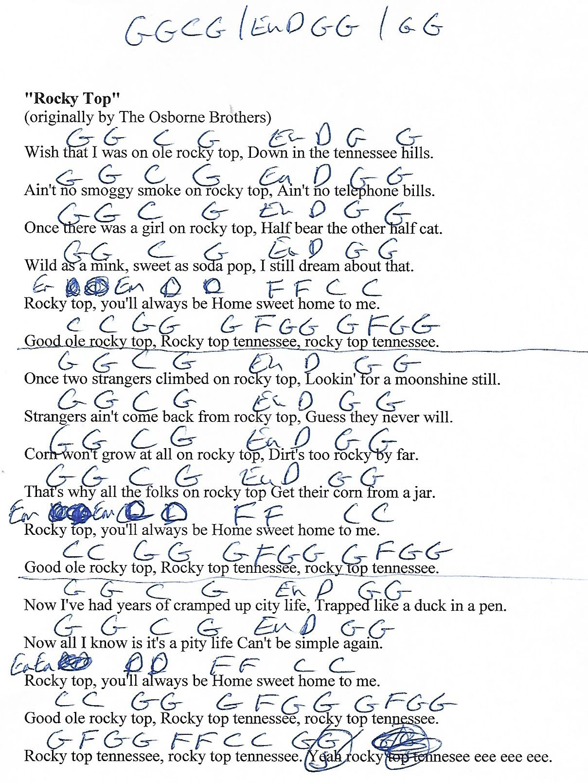 Rocky top osbourne brothers capo 4th guitar chord chart with rocky top osbourne brothers capo 4th guitar chord chart with lyrics http hexwebz Images