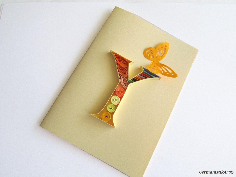 Y Letter Card, Personalized Monogram Card, Letter art, Y monogram ...