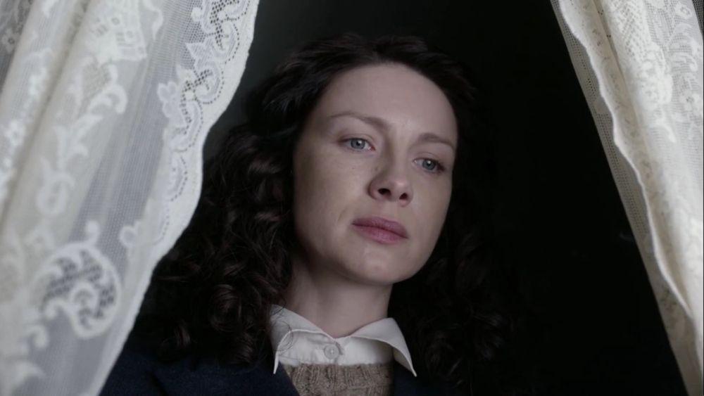 """Outlander S02E01  """"Through a Glass, Darkly""""........Claire back in 1948 and Frank. Claire watching Frank burn her clothes she wore from 1746 when she was last with Jamie..... (Aired on STARZ 4/9/2016)"""