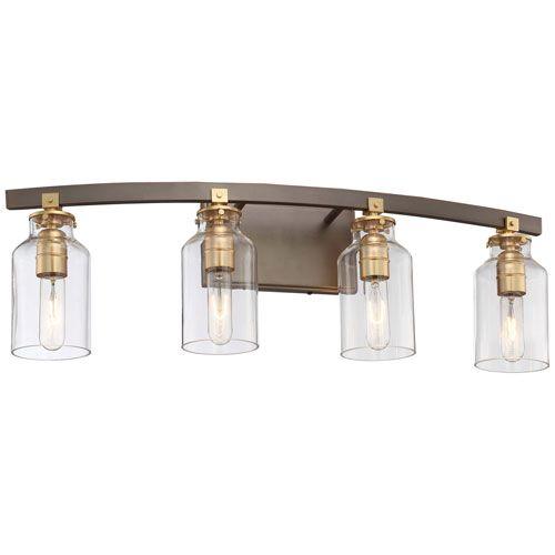 MinkaLavery Morrow Harvard Court Bronze FourLight Vanity Harvard - Minka bathroom vanity lights
