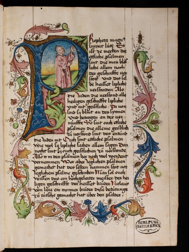 An Example Of The Historiated Initial Showing The P At The
