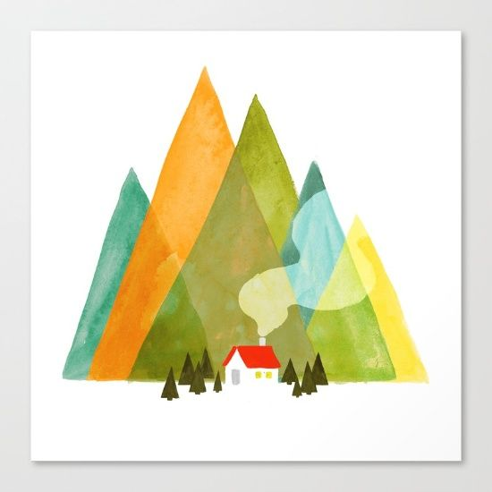 House at the foot of the mountains Canvas Print by Picomodi ...