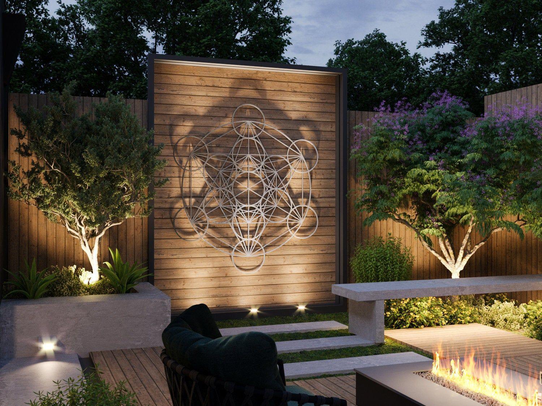 Metatron Cube Outdoor Metal Wall Art Large Outdoor Sculpture