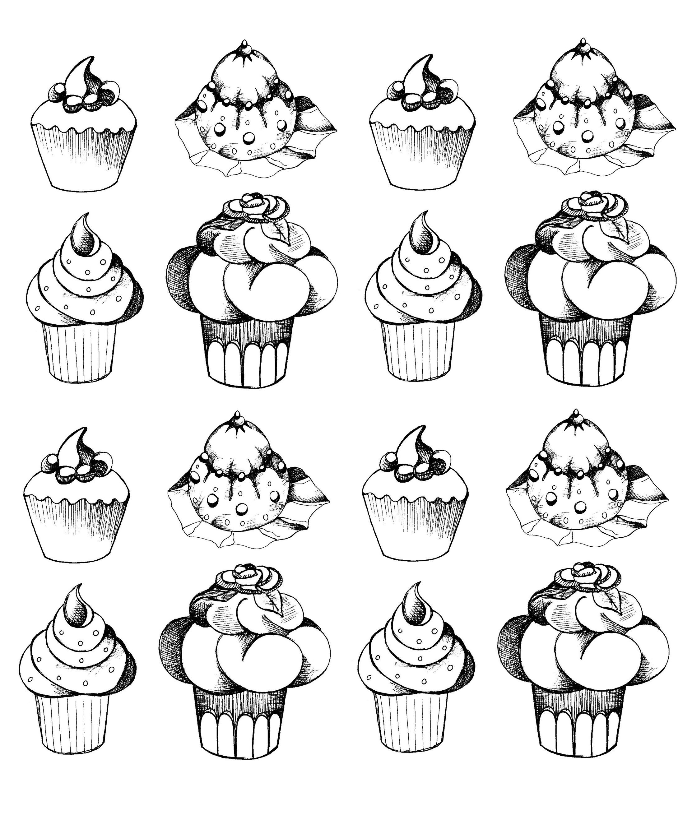 Free coloring page «coloriage-adulte-cupcakes-oldstyle». Cupcakes ...