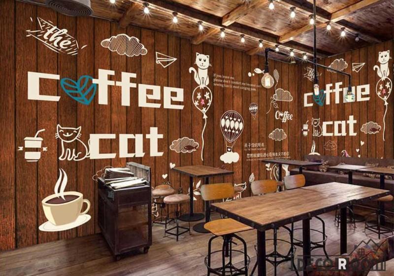 Wooden Wall Cat Coffee Bar Restaurant Art Wall Murals Wallpaper