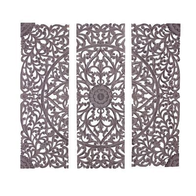 Cole Grey 3 Piece Wood Carved Wall Decor Set Wooden Wall