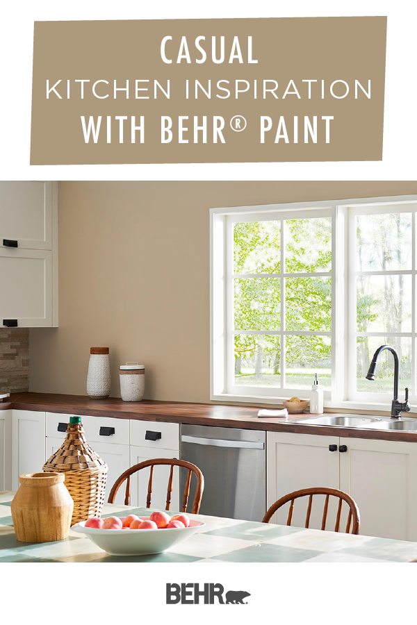 To Create A Casual Style In Your Home Start With Behr Paint In Hayloft And Swiss Coffee This Color P Kitchen Style Tan Kitchen Walls Interior Design Kitchen