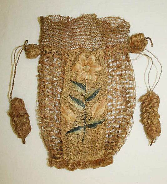 Bag (Drawstring)  Date: late 18th–early 19th century