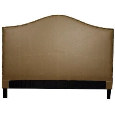 "ONE IN STOCK - Vintage Taupe Bonded Leather Queen Headboard:  67.00""w x 4.00""d X 49.00""h- Rent: $28; Buy: $199"