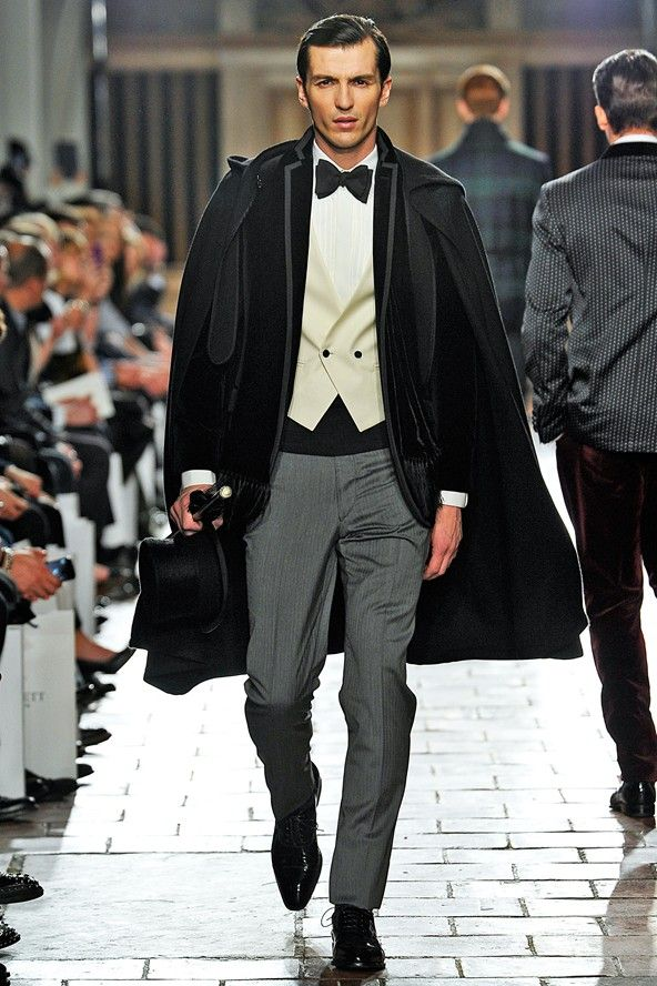 4a42e3105f3a2 Hackett London A W 2013-14  opera  LondonCollections UM YESPLZ. top hat!  Cane! Cape! Friggin... This guy.