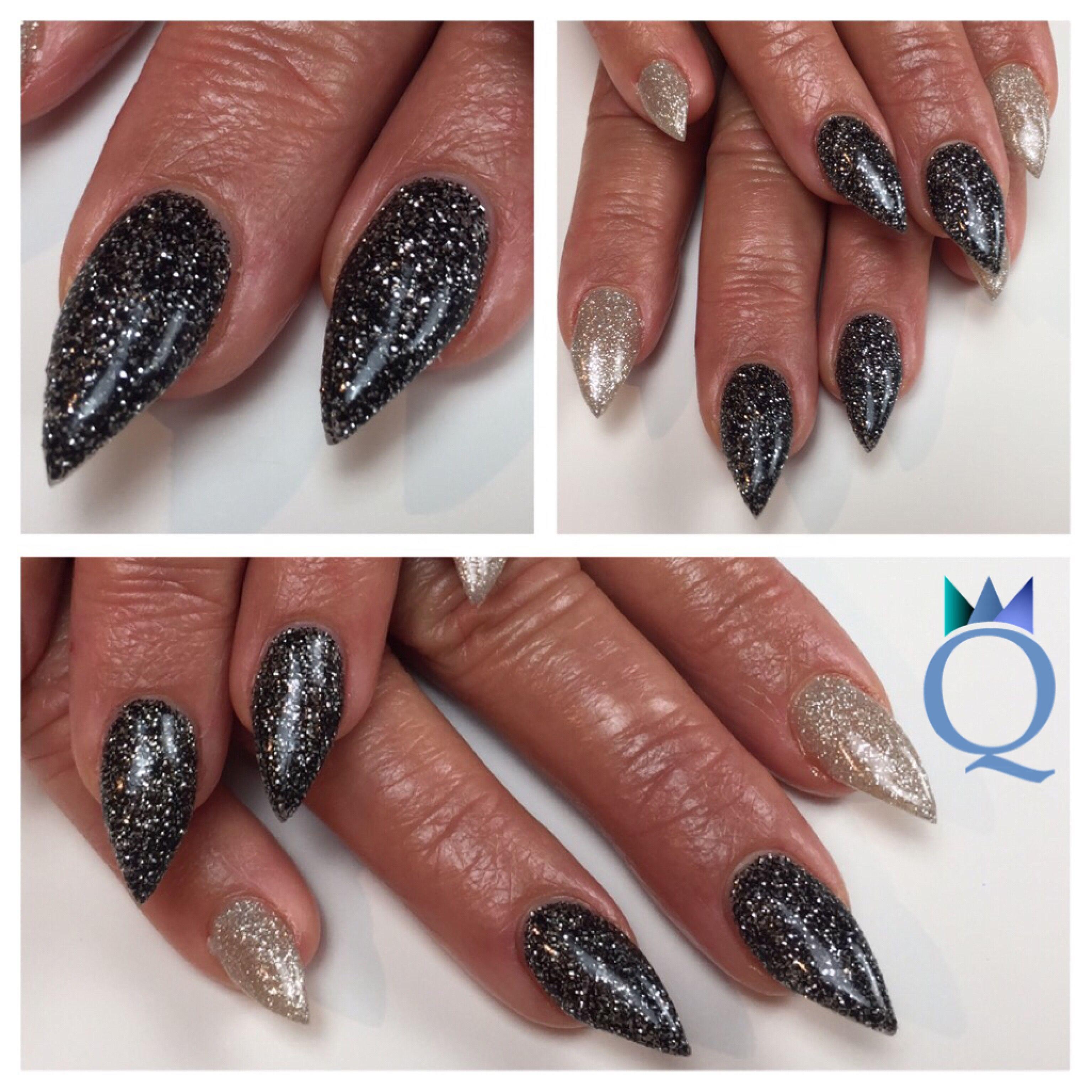 short #stilettonails #acrylicnails #nails #black #beige #glitter ...