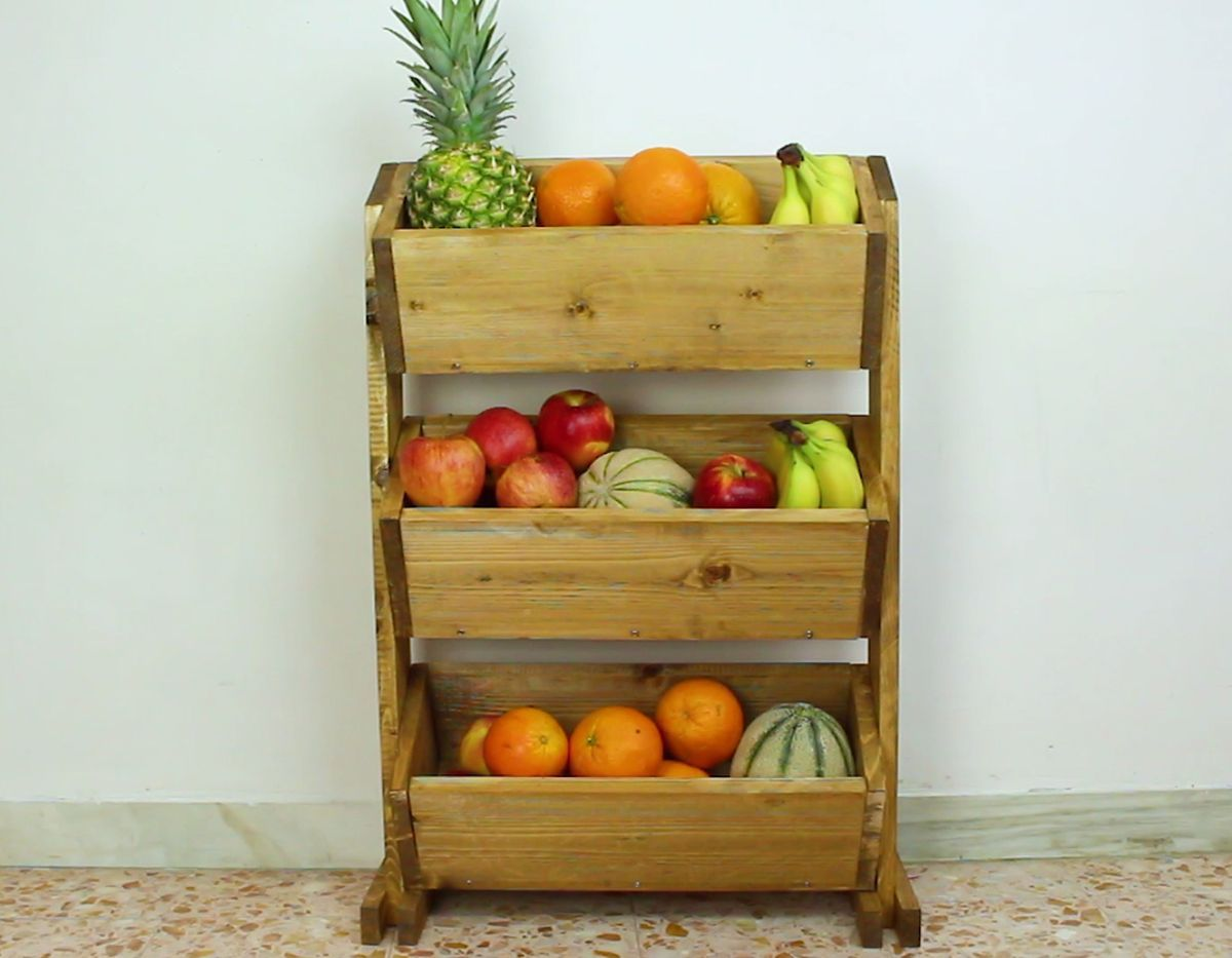 Build A Market Style Wooden Fruit Holder Diy Mobel Ideen Gemuseaufbewahrung Holz