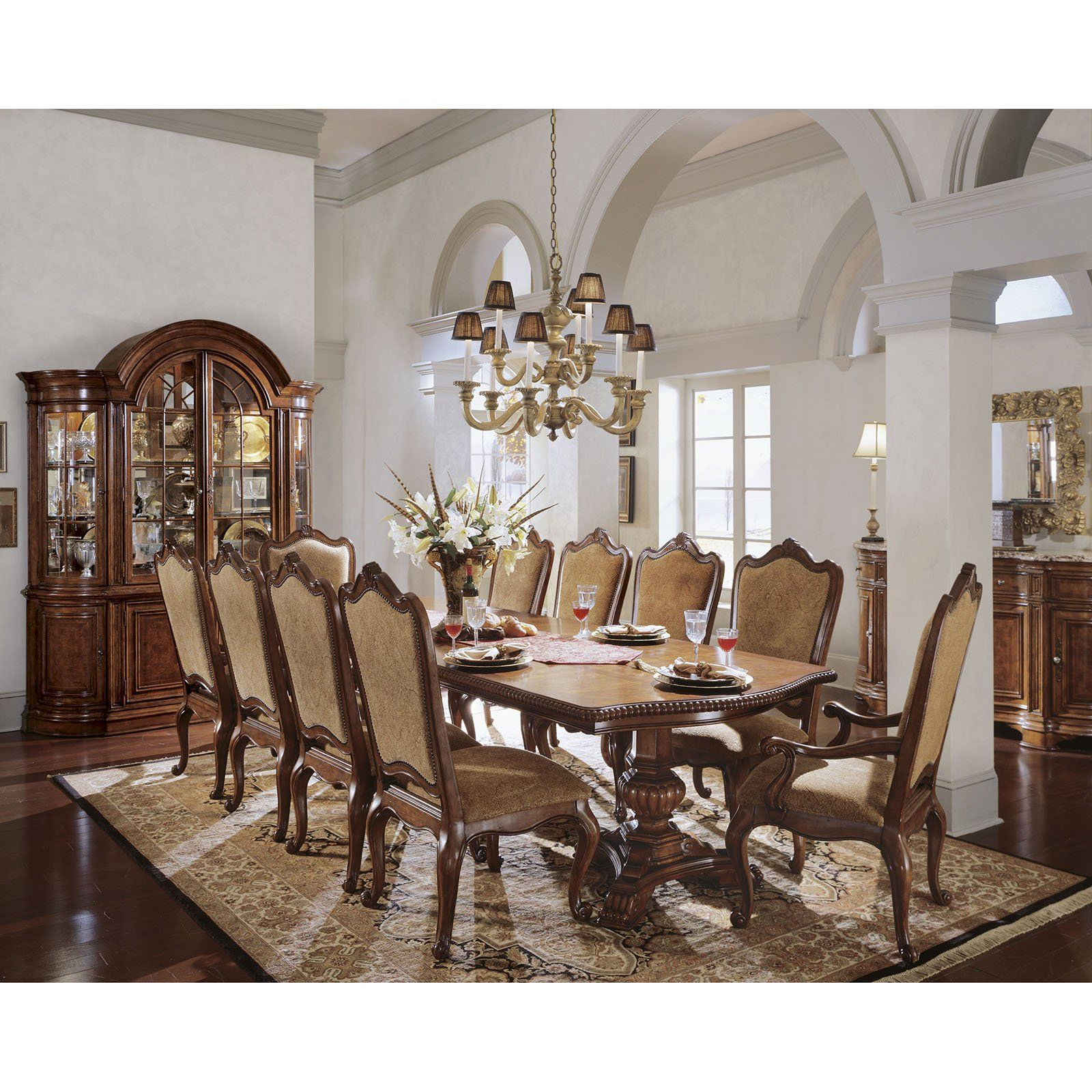 Villa Cortina 11 Piece Double Pedestal Dining Set With Upholstered Chairs
