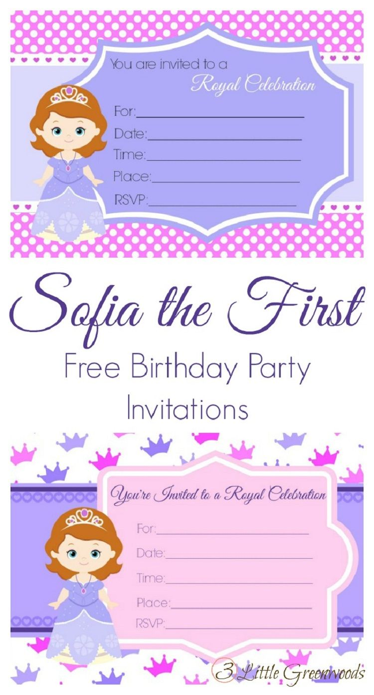 Free Editable Sofia The First Birthday Invitations