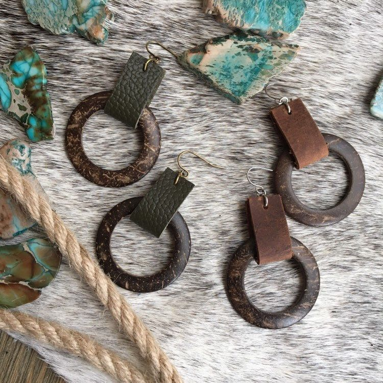 Photo of Boho Wood Hoop Earrings – Natural Coconut Ring with Leather in Green or Brown – Bohemian Summer Festival Style – HIppie Chic Jewelry