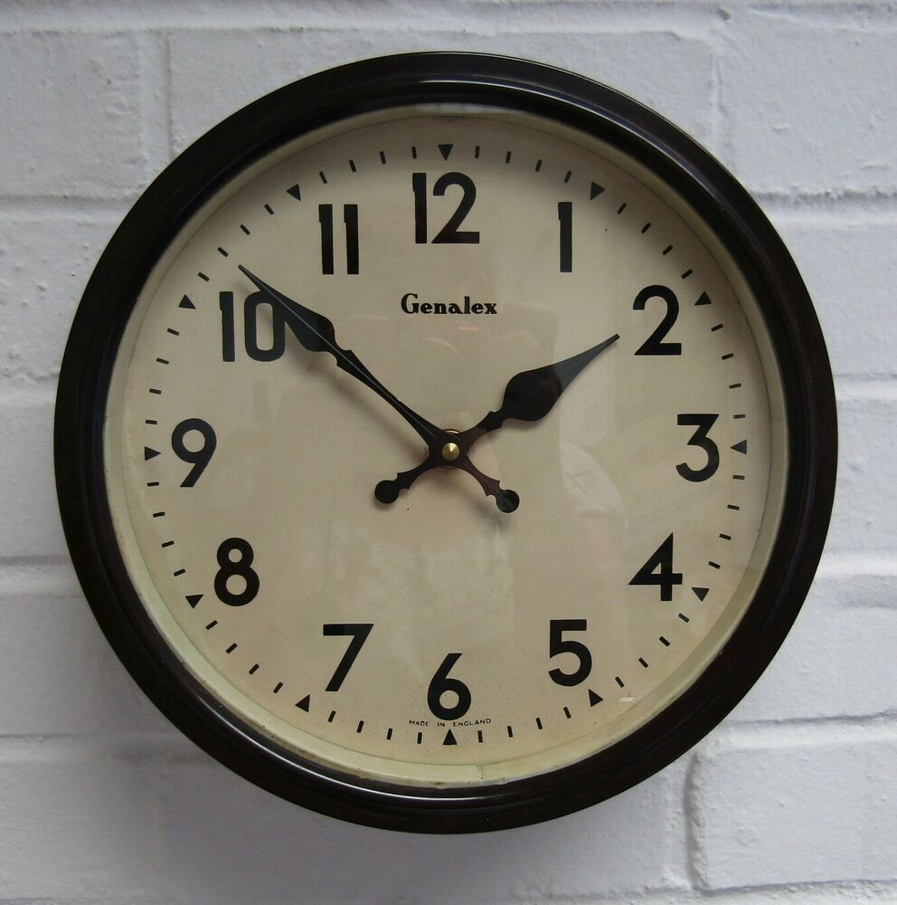 Vintage 1930s Large Genalex Bakelite Wall Clock Industrial Factory Battery Fwo Clock Wall Clock Vintage Clock